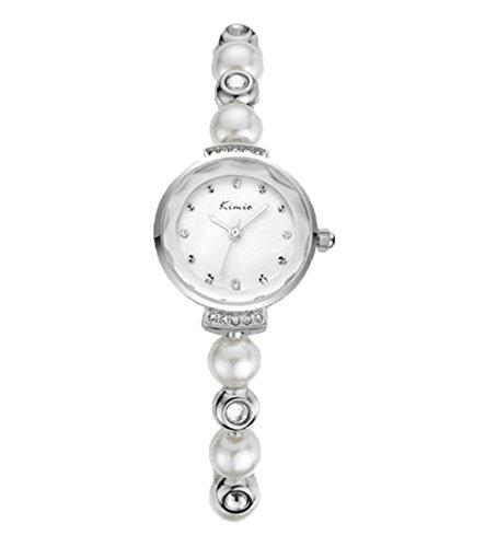 Einzigartig Elegant Leuchtuhr Strass Perle Armband Uhr Quarzuhr Fuer Damen Silber