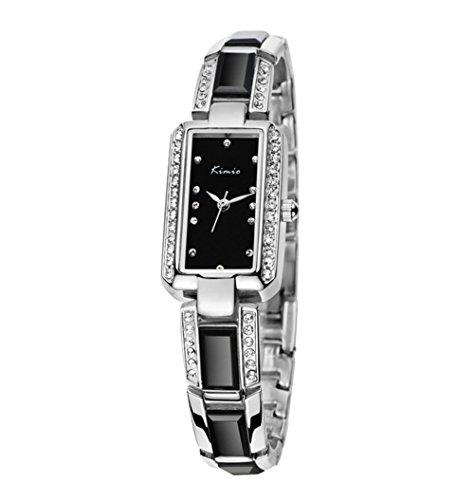 Elegant Strass Armband Uhr Keramik Band Rechteckig Schwarz