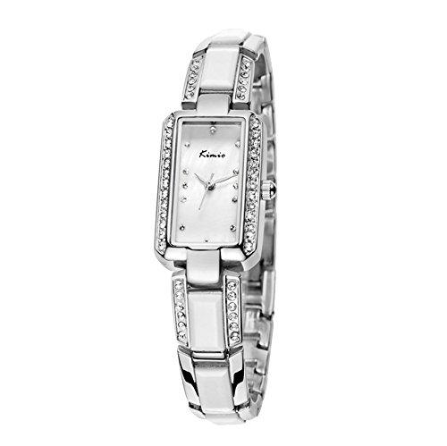 Elegant Strass Armband Uhr Keramik Band Rechteckig Silber