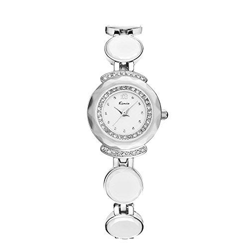Mode Elegant Keramik Kreis Band Glaenzend Strass Armband Uhr Fuer Damen Geschenk Silber