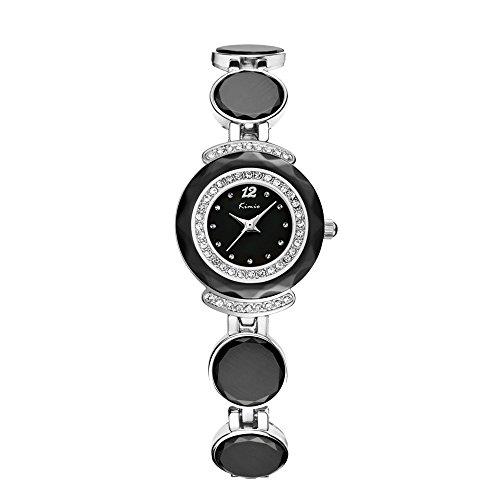 Mode Elegant Keramik Kreis Band Glaenzend Strass Armband Uhr Fuer Damen Geschenk Schwarz