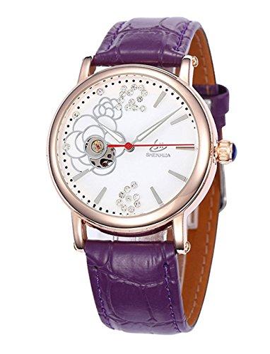 Elegant Schwan Strass Lederband Damen Automatik Mechanische Uhr Violett