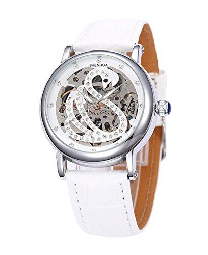 Elegant Schwan Strass Lederband Damen Automatik Mechanische Uhr Weiss