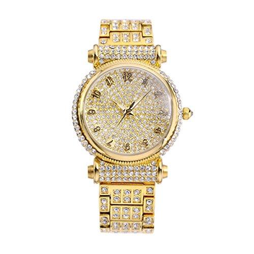 Fashion Wasserdicht Quarz Legierung Strass Armbanduhr Fuer Frauen Maedchen Gold