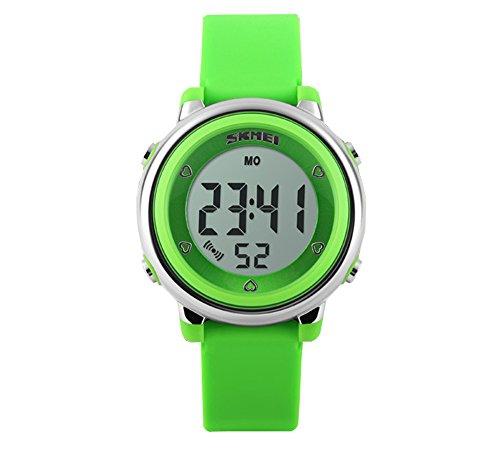 Klassisch Gelee Kolorit Kalender Alarm Multifunktional Armbanduhr Leuchtuhr Uhr Fuer Kinder Gruen