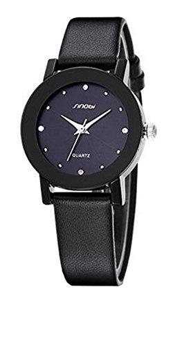 Klassisch Leisure Strass Armbanduhr Paerchen Quarzuhr Schwarz