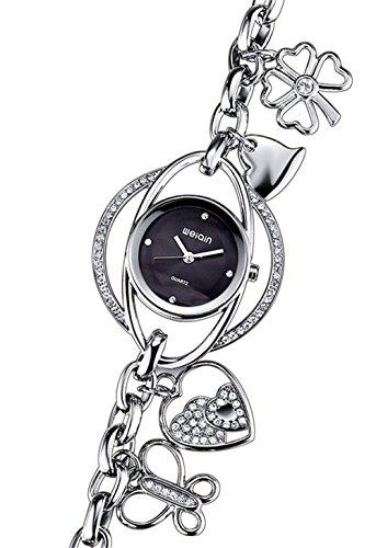 Kreativ Strass Quarzuhr Herz Schmetterling Anhaenger Armband Uhr Fuer Damen