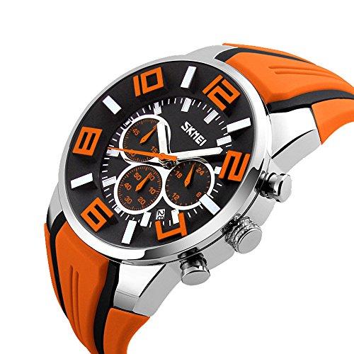 Mode Sport Silikonband Drei Augen Quarz Armbanduhr Herren Orange