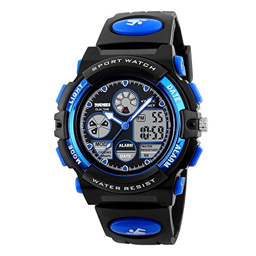 Sport Wasserdicht Leuchtende Nacht Polyurethan Armband Kalender Multifunktions fuer Kinder Blau