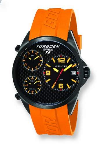 Torgoen-T08306-Armbanduhr-Quarz Analog-Zifferblatt schwarz Armband Kunststoff orange