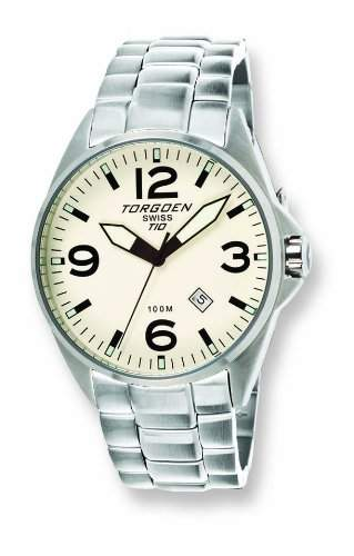 Torgoen-T10206-Herrenuhr-Quarz-Analog Zifferblatt Beige Armband Stahl Silber