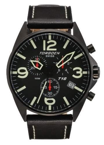 Torgoen Herren-Armbanduhr Analog Leder schwarz T16101