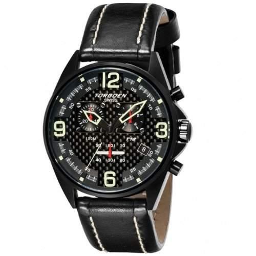 Torgoen Herren-Armbanduhr Analog Leder schwarz T18102