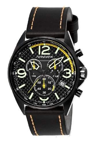 Torgoen-t18103-Armbanduhr-Quarz Chronograph-Schwarzes Ziffernblatt-Armband Leder Schwarz