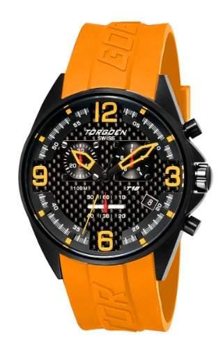 Torgoen-t18306-Armbanduhr-Quarz Chronograph-Zifferblatt schwarz Armband Kunststoff orange