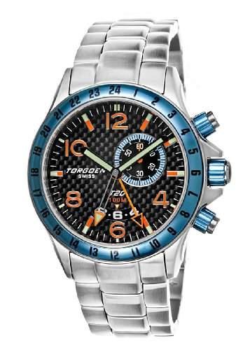 Torgoen-t20203-Armbanduhr-Quarz Analog-Zifferblatt schwarz Armband Stahl Silber