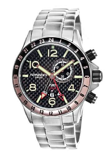 Torgoen-t20204-Armbanduhr-Quarz Analog-Zifferblatt schwarz Armband Stahl Silber
