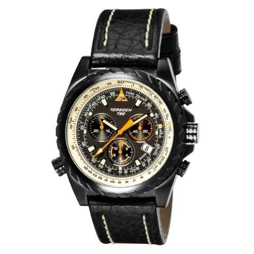 Torgoen Herren-Armbanduhr Analog Leder schwarz T22101
