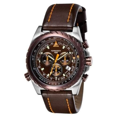 Torgoen Herren-Armbanduhr Analog Leder braun T22102
