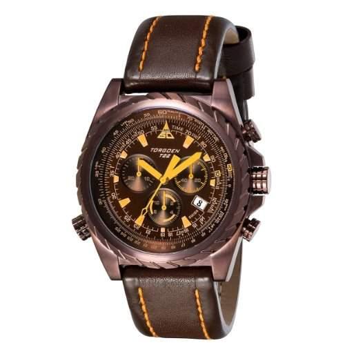 Torgoen Herren-Armbanduhr Analog Leder braun T22104
