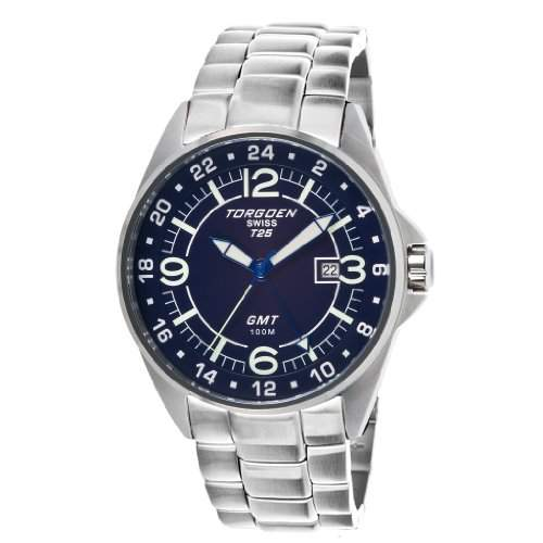 Torgoen-T25203-Zeigt Herren-Armbanduhr 10510262Analog Stahl Silber