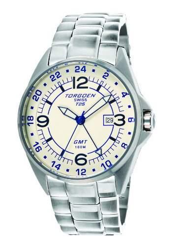 Torgoen-T25204-Armbanduhr-Quarz Analog-Weisses Ziffernblatt-Armband Stahl Silber
