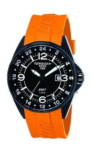 Torgoen-T25302-Armbanduhr-Quarz Analog-Zifferblatt schwarz Armband Kunststoff orange