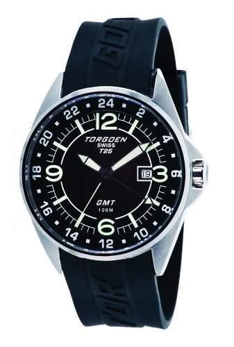 Torgoen-T25304-Armbanduhr-Quarz Analog-Zifferblatt schwarz Armband Kunststoff schwarz