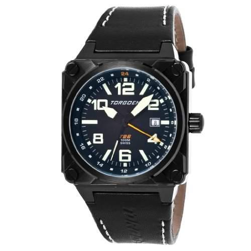 Torgoen Herren-Armbanduhr Analog Leder schwarz T26101
