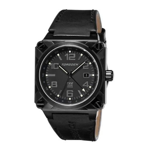 Torgoen Herren-Armbanduhr Analog Leder schwarz T26106