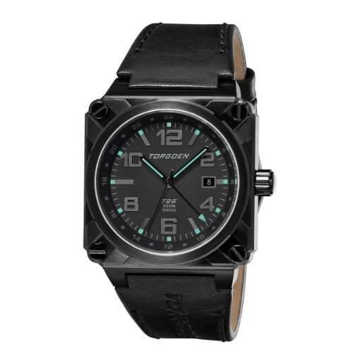 Torgoen Herren-Armbanduhr Analog Leder schwarz T26108