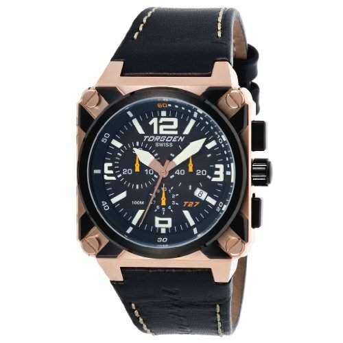 Torgoen Herren-Armbanduhr Analog Leder schwarz T27105