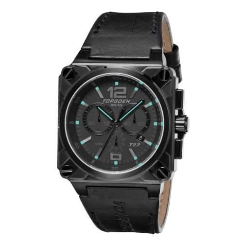 Torgoen Herren-Armbanduhr Analog Leder schwarz T27108