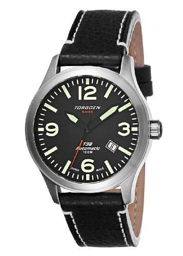 Torgoen-T32102-Zeigt Herren-Automatische Analog-Zifferblatt schwarz Armband Leder schwarz