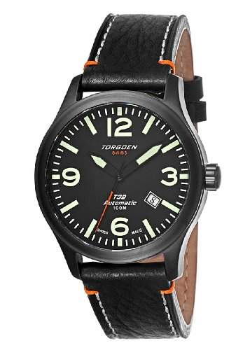 Torgoen-T32103-Zeigt Herren-Automatische Analog-Zifferblatt schwarz Armband Leder schwarz