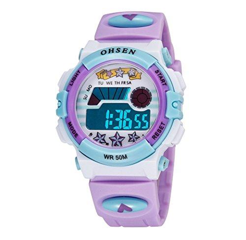 Happy Cherry Unisex Jungen Maedchen Wasserdichte Sport Uhren Elektronische Wandern Armband Uhr Studenten Digitaluhr Child Alarm Wrist Watch Lila