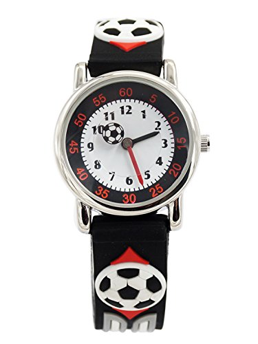 Happy Cherry Kinder Jungen Analog Quarz Armbanduhr Cool Schwarz Fussball Pattern