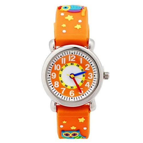 Happy Cherry Kinder Jungen Maedchen Analog Orange Armband Cartoon Eule Pattern