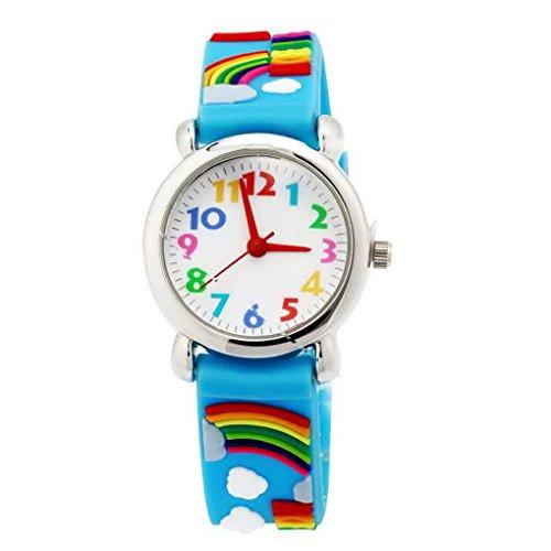 Happy Cherry Kinder Jungen Maedchen Analog Blau Armband Cartoon Regenbogen Pattern