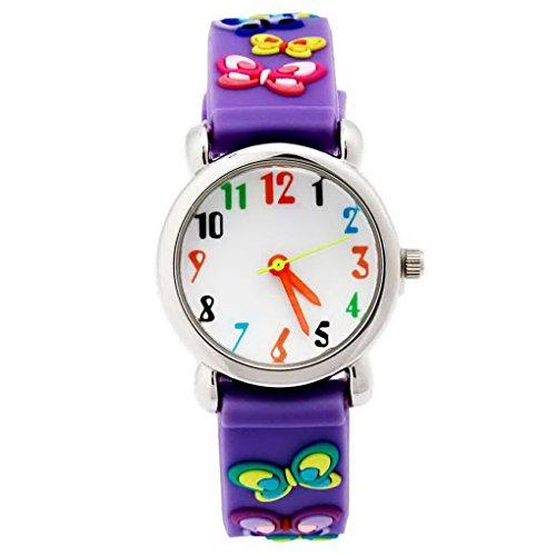 Happy Cherry Kinder Maedchen Analog Suess und Lieblich Violett Armband Cartoon Schmetterling Pattern