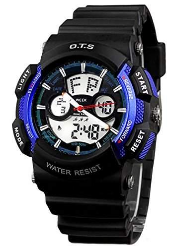OTS Kinder Jungen Maedchen Digital Armbanduhr Outdoor Sports Multifunktionsuhr mit LED Hintergrundbeleuchtung Wasserfest - Koenigblau und Schwarz