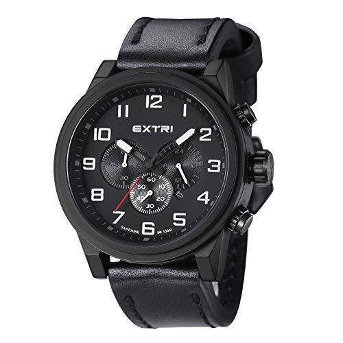 EXTRI Herren Chronograph Uhr X3001A Edelstahl Lederarmband Saphirglas