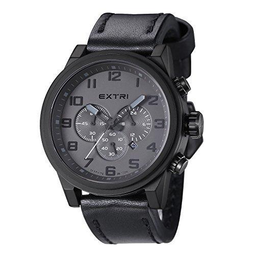 EXTRI Herren Chronograph Uhr X3001C Edelstahl Lederarmband Saphirglas