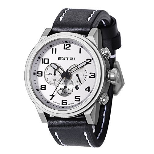 EXTRI Herren Chronograph Uhr X3001E Edelstahl Lederarmband Saphirglas