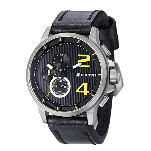 EXTRI Chronograph Uhr X3004A Edelstahl Lederarmband Saphirglas