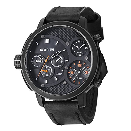 Extri Herren Armbanduhr Analog Quarz Leder X3002A