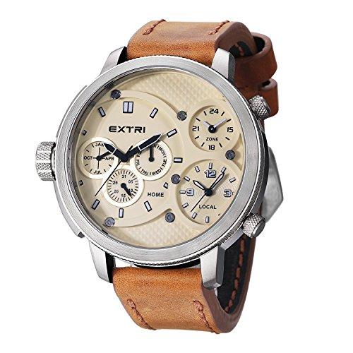 Extri Herren Armbanduhr Analog Quarz Leder X3002C