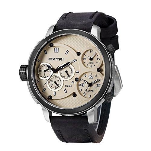 Extri Herren Armbanduhr Analog Quarz Leder X3002E