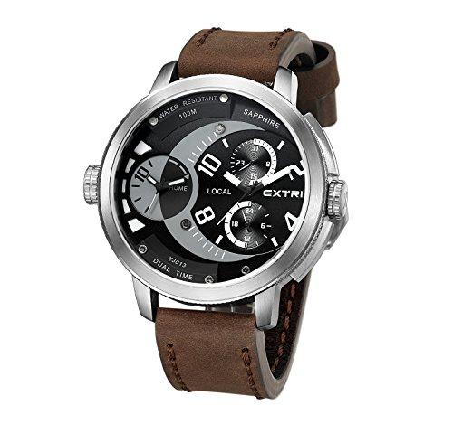 Extri Herren Armbanduhr Analog Quarz Leder X3013B