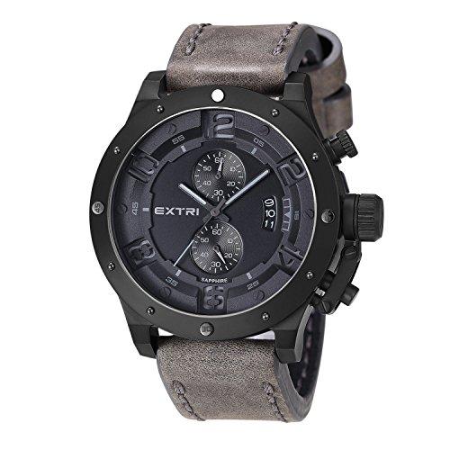 Extri Herren Armbanduhr Chronograph Quarz Leder X3005C